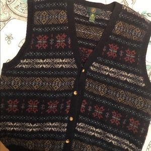 Men's Sz L Blue Multicolored Sweater Vest